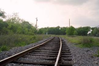 Detail shot of the track and roadbed
